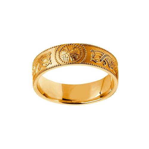 Men's Yellow Gold Celtic Warrior Shield Comfort Fit Wedding Ring
