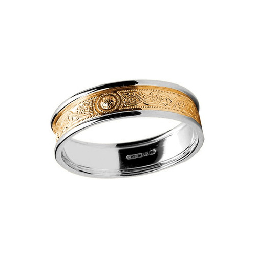Women's Yellow and White Gold Celtic Warrior Shield Two Tone Wedding Ring - Yellow Gold Center