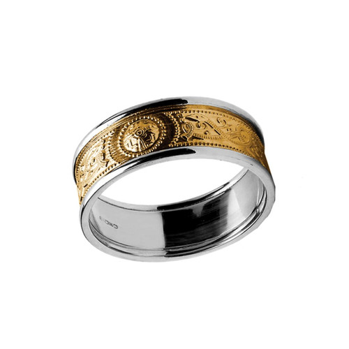 Men's Yellow and White Gold Celtic Warrior Shield Two Tone Wedding Ring - Yellow Gold Center