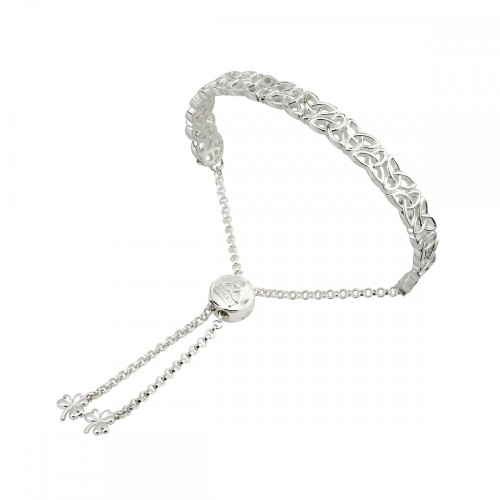 Sterling Silver Trinity Knot Adjustable Bracelet
