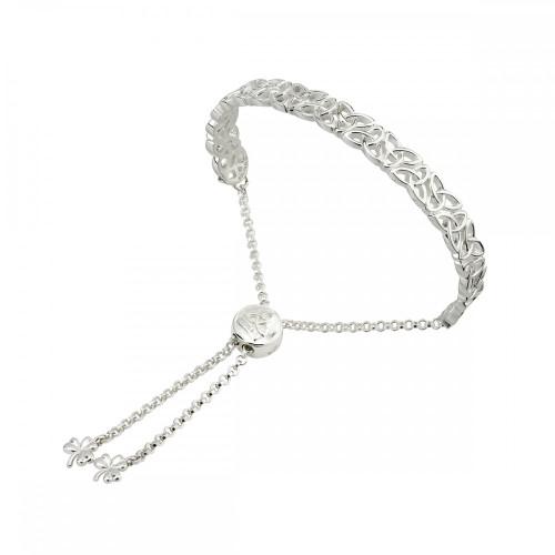 Sterling Silver Trinity Knot Adjustable Bracelet