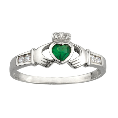 Women's Sterling Silver Synthetic Emerald & White CZ Claddagh Ring