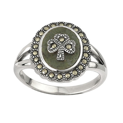 Women's Sterling Silver Connemara Marble and Marcasite Shamrock Ring
