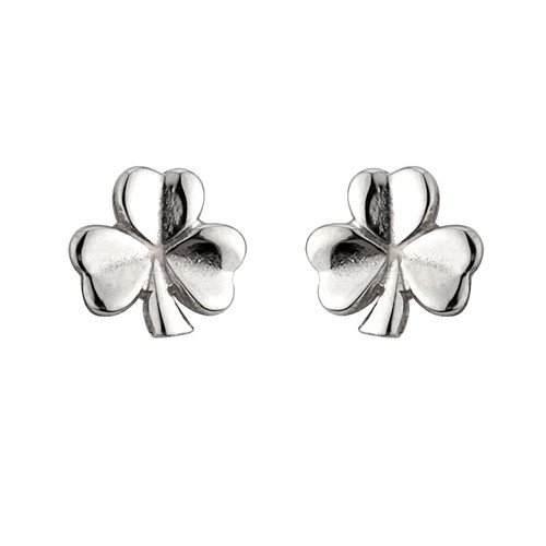 Sterling Silver Shiny Shamrock Stud Earrings