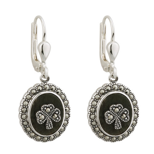 Sterling Silver Connemara Marble and Marcasite Shamrock Drop Earrings