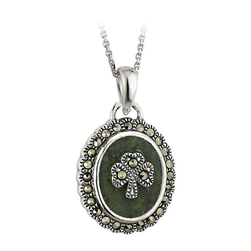 Sterling Silver Connemara Marble and Marcasite Shamrock Pendant