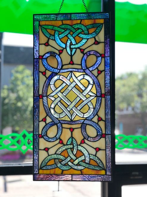 Vertical Celtic Stained Glass Window