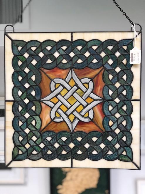 Celtic Diamond Beveled Stained Glass Window
