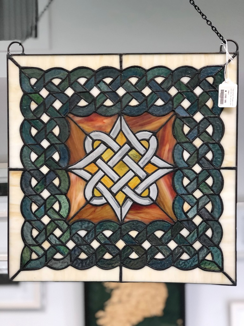 Celtic Diamond Beveled Stained Glass Window