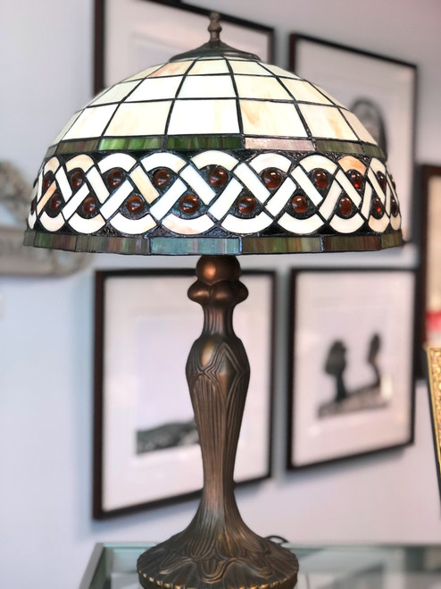 Celtic Amber Stained Glass Lamp