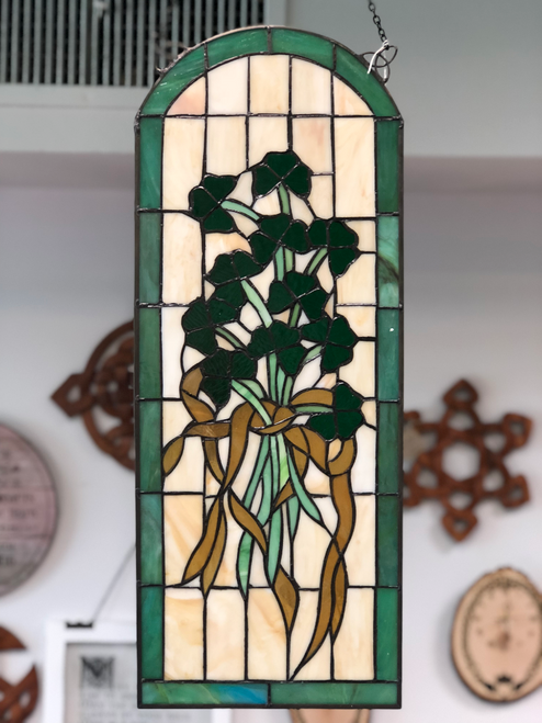 Shamrock Arched Stained Glass Window
