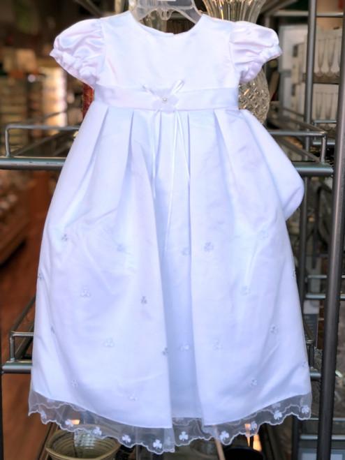 Girls' Shamrock Christening Gown with Cap