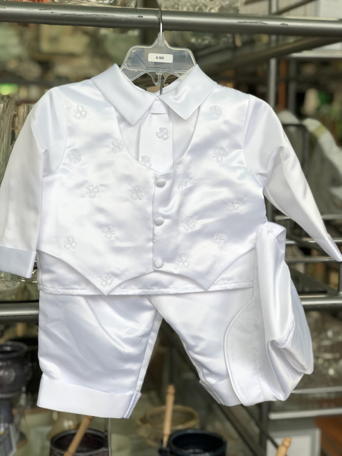 Boys' Shamrock Christening Suit with Cap