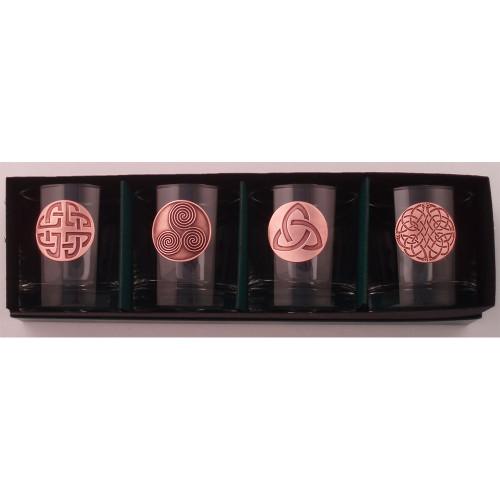 Celtic Design Copper Finish Lo Ball (Glasses Set of 4)