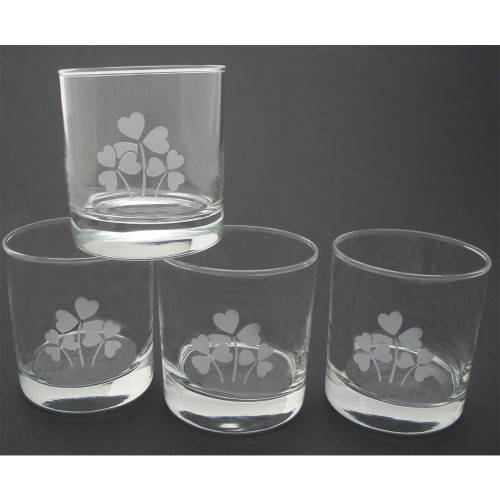 Shamrock Etched Lo Ball Glasses (Set of 4)