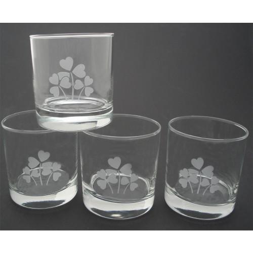 Shamrock Etched Lo Ball Glasses (Set of 4)