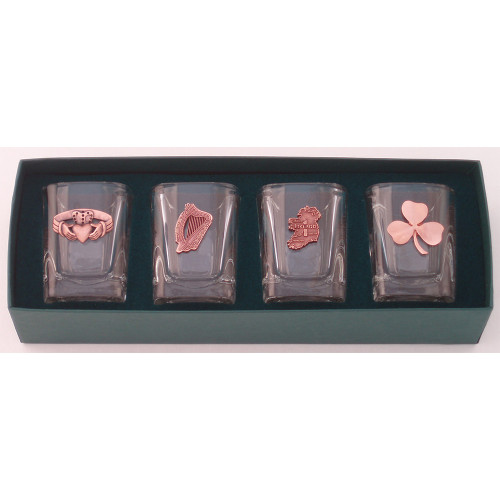 Irish Heritage Copper Finish Shot Glasses (Set of 4)