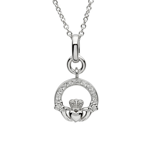 Sterling Silver Miniature Claddagh Pendant Embellished with Swarovski® White Crystals