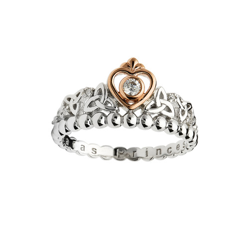 Women's Rose Gold Plated Sterling Silver Princess Collection Heart Trinity Knot Ring