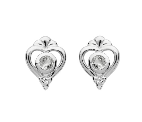 Sterling Silver Princess Collection Heart Trinity Knot Stud Earrings