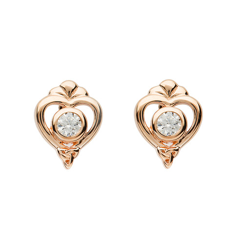 Rose Gold Plated Sterling Silver Princess Collection Heart Trinity Knot Stud Earrings
