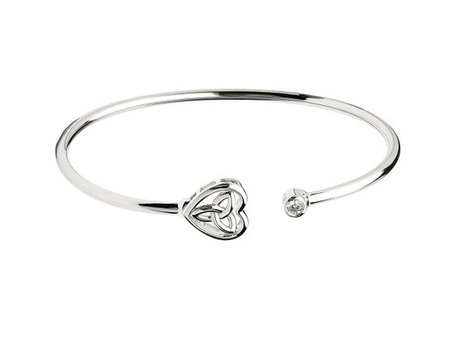 Sterling Silver Trinity Knot Heart Bangle