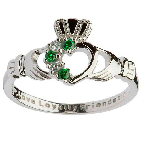 Women's Sterling Silver White and Green CZ Asymmetrical Claddagh Ring
