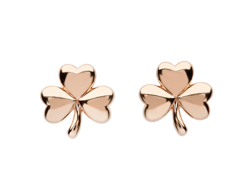 Rose Gold Plated Sterling Silver Shamrock Stud Earrings