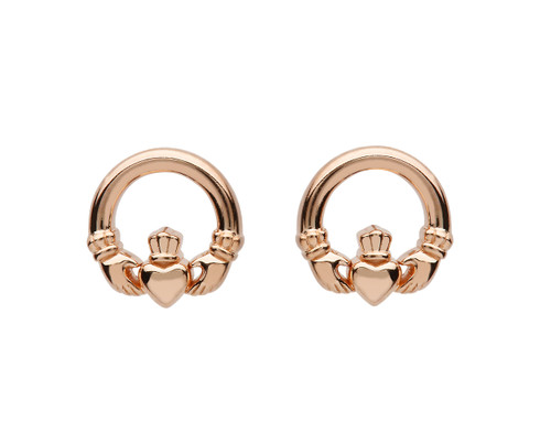 Rose Gold Plated Sterling Silver Claddagh Stud Earrings