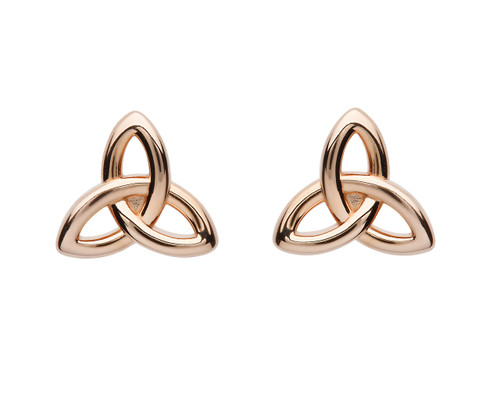 Rose Gold Plated Sterling Silver Trinity Knot Stud Earrings