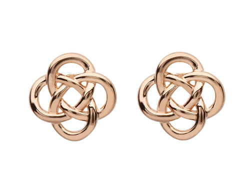 Rose Gold Plated Sterling Silver Celtic Knot Stud Earrings