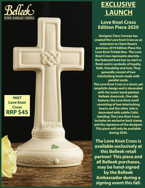 Belleek Love Knot Cross