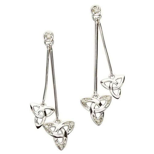 Sterling Silver Diamond Trinity Knot Drop Earrings