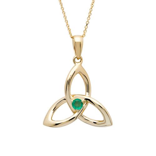 14K Yellow Gold Emerald Trinity Knot Pendant