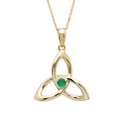 14K Yellow Gold Emerald Trinity Knot Pendant