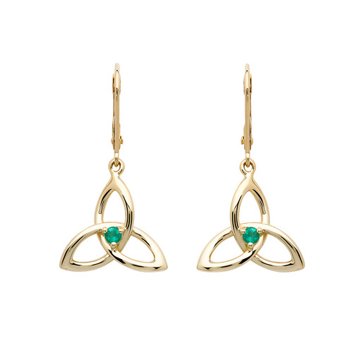 14K Yellow Gold Emerald Trinity Knot Earrings