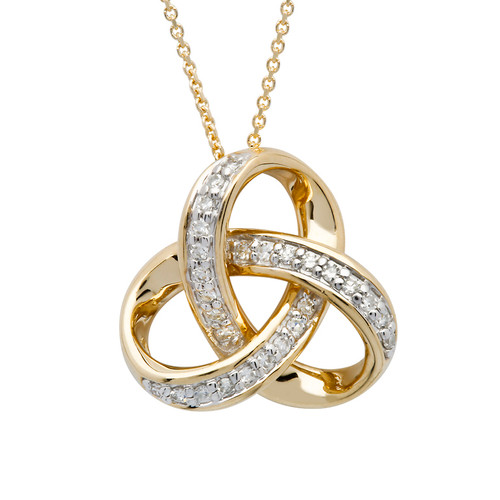 14K Yellow Gold Diamond Set Round Trinity Knot Pendant