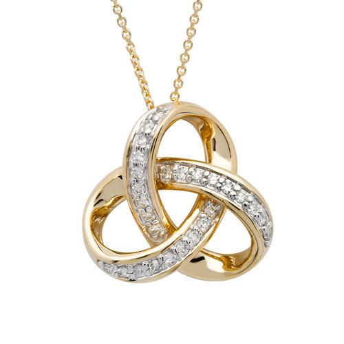 14K Yellow Gold Diamond Set Round Trinity Knot Pendant