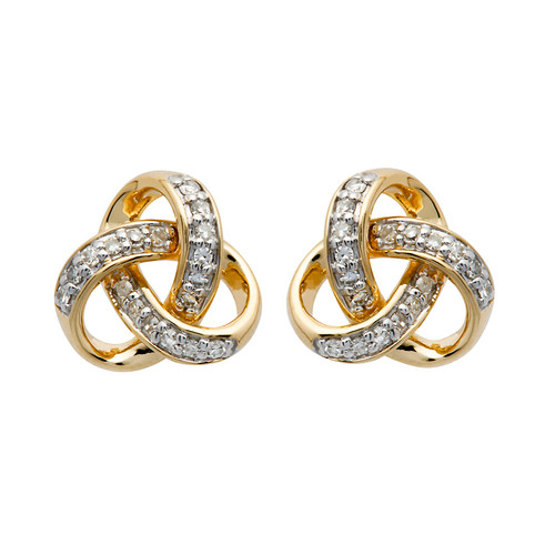 14K Yellow Gold Diamond Set Round Trinity Knot Earrings