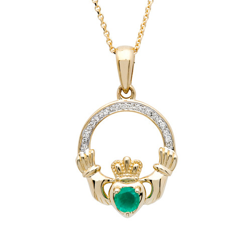 14K Yellow Gold Emerald & Diamonds Claddagh Pendant