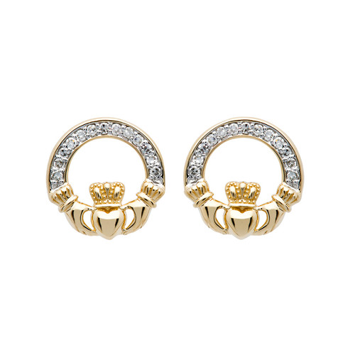 14K Yellow Gold Diamond Claddagh Stud Earrings