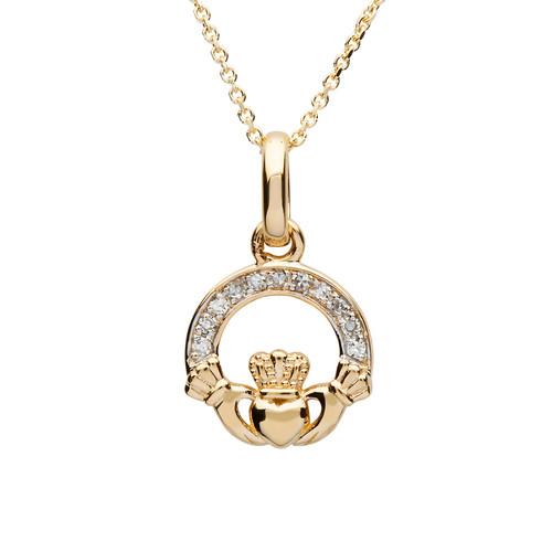 14K Yellow Gold Diamond Small Claddagh Pendant