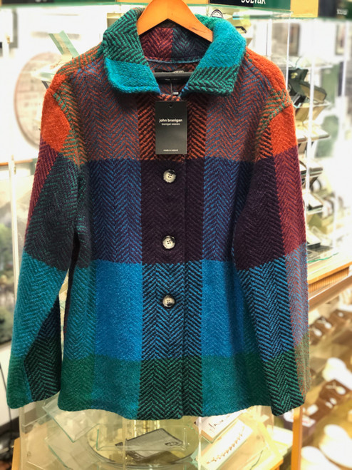 Women's Colorful Wool Coat - Blue