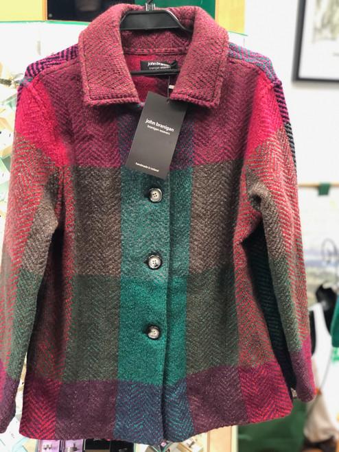 Women's Colorful Wool Coat - Green