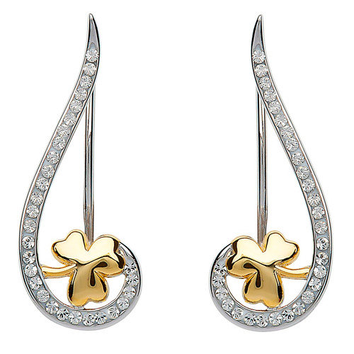 Sterling Silver Gold-Plated Shamrock Climber Earrings Embellished with White Swarovski® Crystals