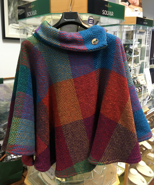 Women's Colorful Wool Poncho - Red