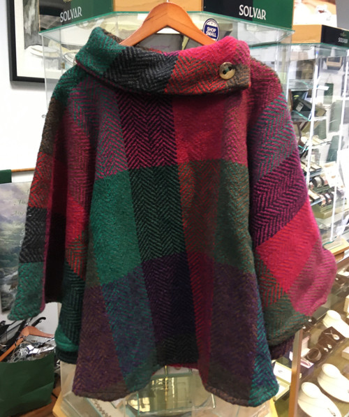 Women's Colorful Wool Poncho - Green