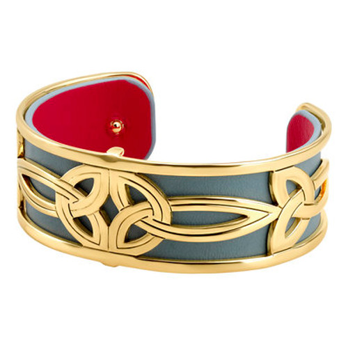 Gold Plated Double Trinity Bangle with Leather Insert