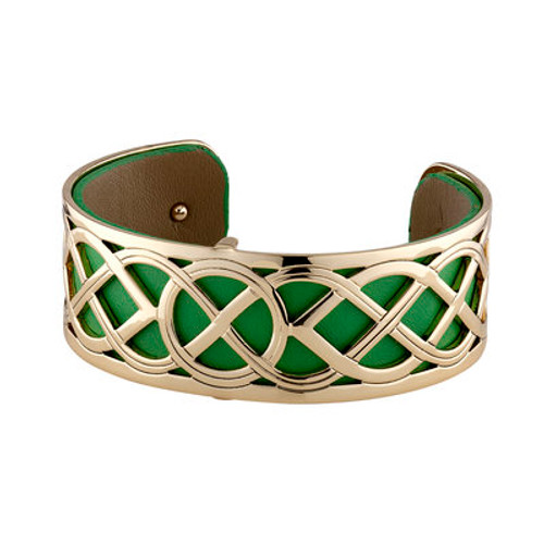 Gold Plated Round Knotwork Bangle with Leather Insert