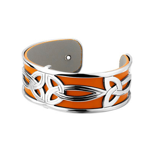 Rhodium Plated Double Trinity Bangle with Leather Insert